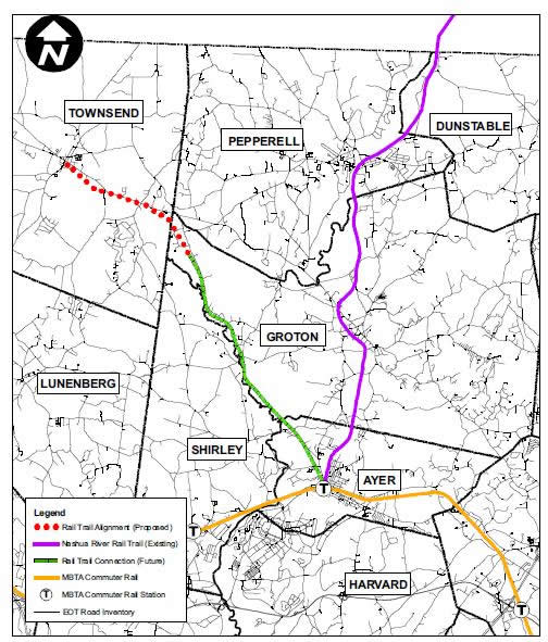 Map showing possible future connection with Nashua River Rail Trail and MBTA.