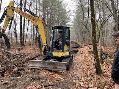 Removing the old railroad ties